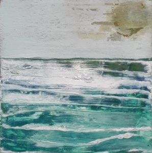 Seaview 14, mixed technique on wood, 20 x 20, 2019.